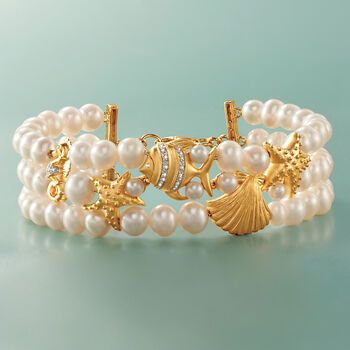 4-7mm Cultured Pearl Sea Life Bracelet with Diamonds in 18kt Gold Over Sterling. 7.5""