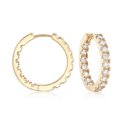 1.25 ct. t.w. CZ Inside-Outside Hoop Earrings in 14kt Yellow Gold, , default
