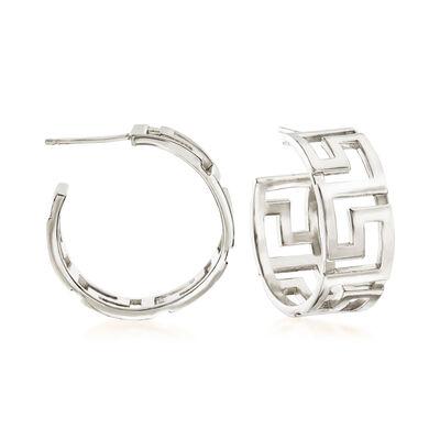 Italian Sterling Silver Greek Key Hoop Earrings, , default