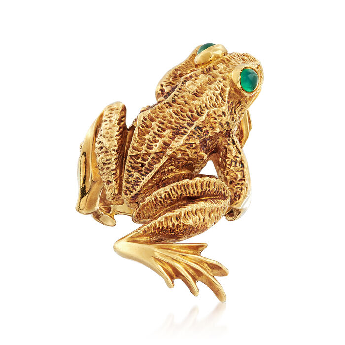 C. 1969 Vintage Kurt Wayne 18kt Yellow Gold Frog Ring. Size 7.5, , default