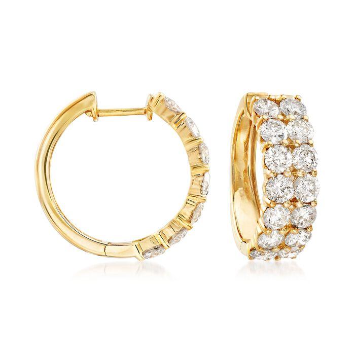"5.00 ct. t.w. Diamond Two-Row Hoop Earrings in 14kt Yellow Gold. 3/4"", , default"