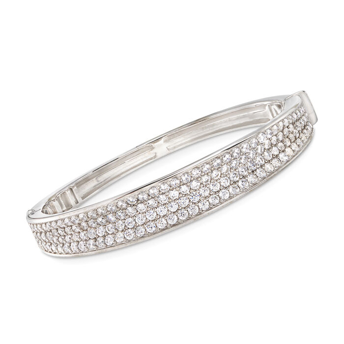"Belle Etoile ""Lucia White"" 7.00 ct. t.w. CZ Bangle Bracelet in Sterling Silver. 7"", , default"