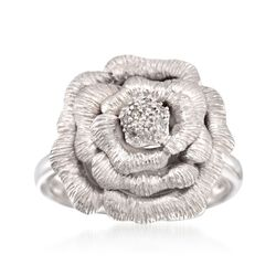 Sterling Silver Rose Ring With Diamond Accents, , default