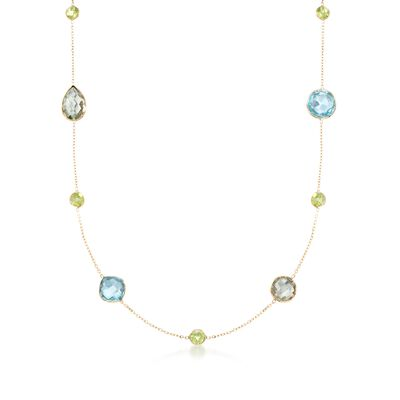 28.55 ct. t.w. Blue and Green Multi-Stone Station Necklace in 14kt Yellow Gold, , default