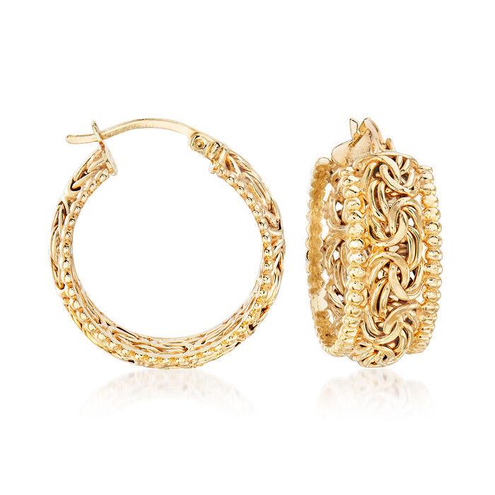 18kt Gold Over Sterling Beaded-Edge Byzantine Hoop Earrings. 1""