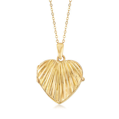 C. 1980 Vintage 18kt Yellow Gold Heart Locket Necklace, , default