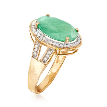 4.20 Carat Emerald Ring with .24 ct. t.w. Diamonds in 14kt Yellow Gold