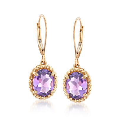 3.20 ct. t.w. Amethyst Twisted Frame Drop Earrings in 14kt Yellow Gold