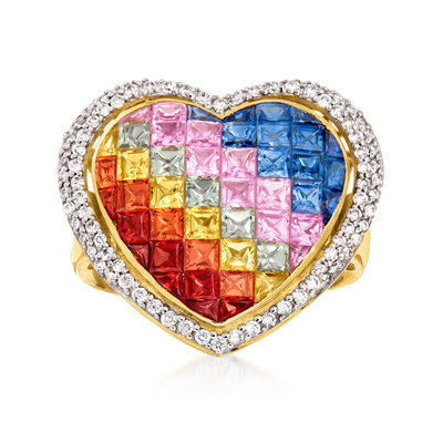 4.30 ct. t.w. Multicolored Sapphire and .46 ct. t.w. Diamond Heart Ring in 14kt Yellow Gold