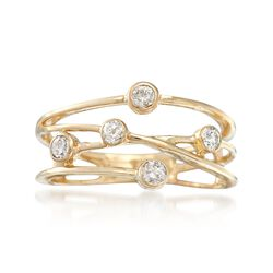 .25 ct. t.w. Bezel-Set Diamond Crisscross Ring in 14kt Yellow Gold, , default
