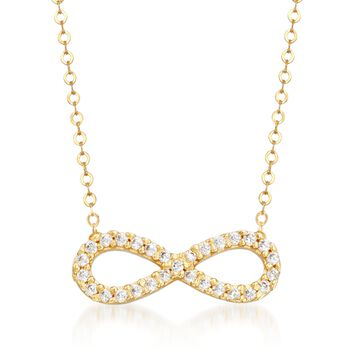 .15 ct. t.w. CZ Infinity Symbol Necklace in 14kt Yellow Gold, , default