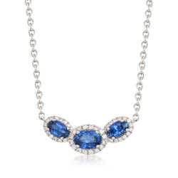 """1.20 ct. t.w. Sapphire and .15 ct. t.w. Diamond Necklace in 14kt White Gold. 16"""", , default"""