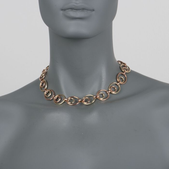 """C. 1950 Vintage 14kt Two-Tone Gold Oval-Link Necklace. 16"""", , default"""