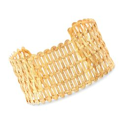 """Italian 18kt Gold Over Sterling Silver Textured and Woven Cuff Bracelet. 7"""", , default"""