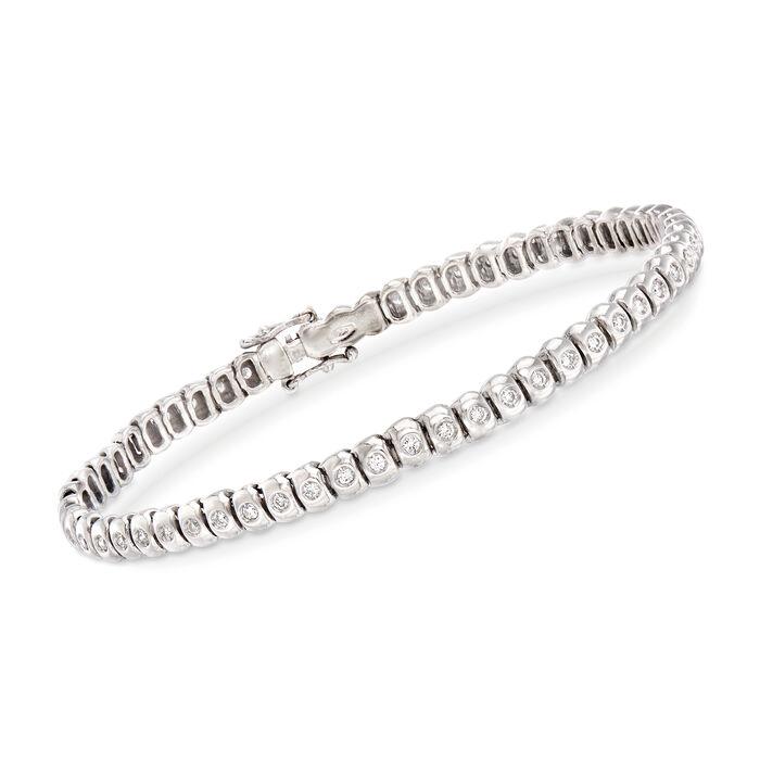 "C. 1970 Vintage 1.00 ct. t.w. Diamond Tennis Bracelet in 18kt White Gold. 7"", , default"