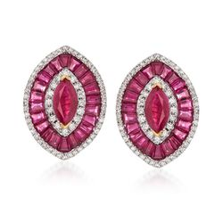 7.00 ct. t.w. Ruby and .62 ct. t.w. Diamond Marquise-Shaped Earrings in 18kt Yellow Gold. Clip/Post Earrings, , default