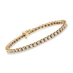 "C. 1990 Vintage 1.50 ct. t.w. Diamond Tennis Bracelet in 14kt Yellow Gold. 7.5"", , default"