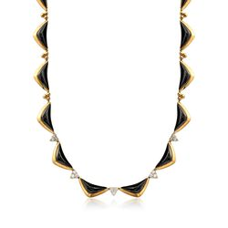 "C. 1980 Vintage Black Onyx and 1.80 ct. t.w. Diamond Triangle Necklace in 18kt Yellow Gold. 17"", , default"
