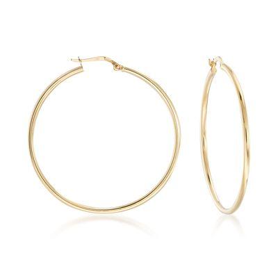 Italian 2mm 18kt Yellow Gold Hoop Earrings, , default