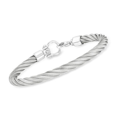 ALOR Men's White Stainless Steel Twisted Cable Bracelet