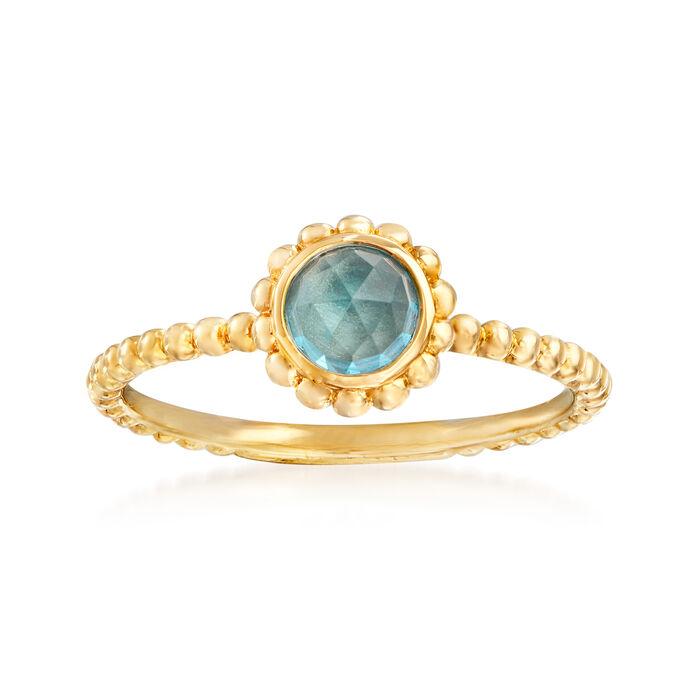 Gabriel Designs .80 Carat Swiss Blue Topaz Ring in 14kt Yellow Gold. Size 7