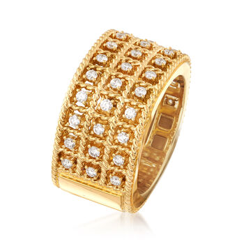 """Roberto Coin """"Barocco"""" .62 ct. t.w. Diamond Three-Row Ring in 18kt Gold. Size 6.5"""