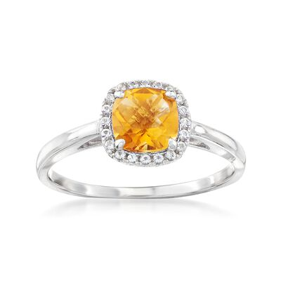 .80 Carat Citrine and .10 ct. t.w. White Topaz Ring Sterling Silver, , default