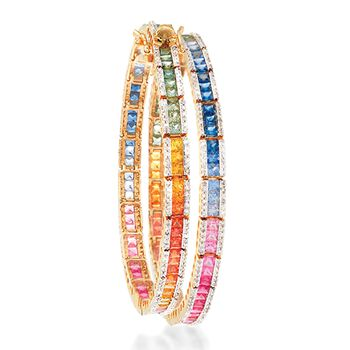 7.00 ct. t.w. Multicolored Sapphire and 1.15 ct. t.w. Diamond Bracelet in 14kt Yellow Gold, , default