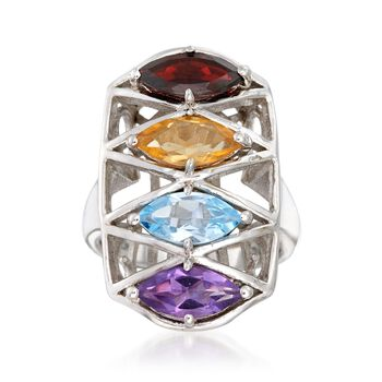 4.00 ct. t.w. Multi-Stone Ring in Sterling Silver, , default