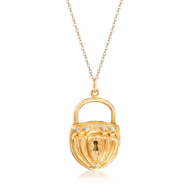 C. 1990 Vintage 18kt Yellow Gold Lock Pendant Necklace, , default