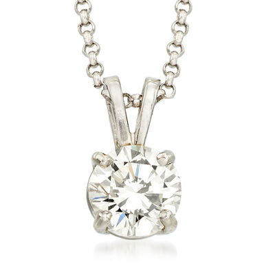C. 2000 Vintage .75 Carat Diamond Solitaire Necklace in 14kt White Gold, , default