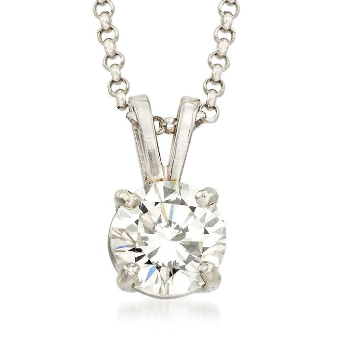 "C. 2000 Vintage .75 Carat Diamond Solitaire Necklace in 14kt White Gold. 16"", , default"