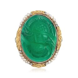 C. 1950 Vintage Carved Green Chalcedony and Cultured Seed Pearl Ring in 14kt Two-Tone Gold, , default