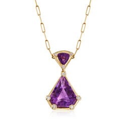 C. 1980 Vintage 31.25 ct. t.w. Amethyst and .45 ct. t.w. Diamond Pendant Necklace in 18kt Yellow Gold, , default