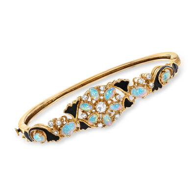 C. 1980 Vintage Opal and .50 ct. t.w. Diamond Bracelet in 14kt Yellow Gold with Black Enamel