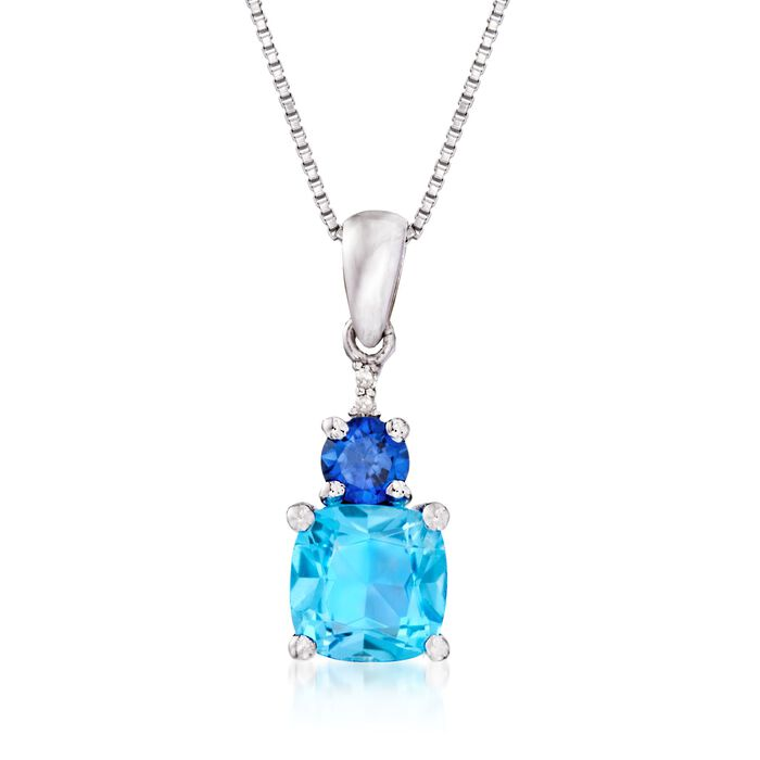 "1.90 Carat Blue Topaz and 1.00 Carat Synthetic Sapphire Necklace with Diamond Accents in Sterling Silver. 18"", , default"