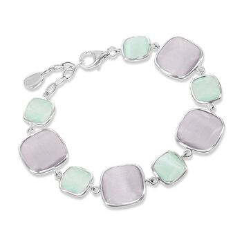 """Purple and Green Glass Bracelet in Sterling Silver. 7.25"""", , default"""