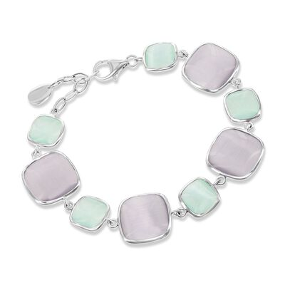 Purple and Green Glass Bracelet in Sterling Silver, , default