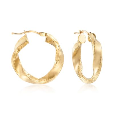 Italian 18kt Yellow Gold Twisted Hoop Earrings, , default