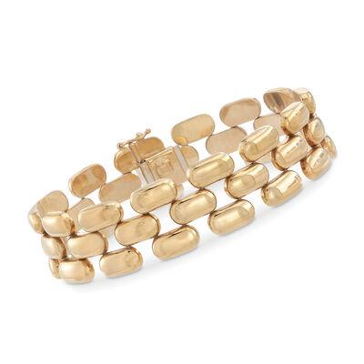 C. 1980 Vintage 14kt Yellow Gold Panther-Link Bracelet, , default
