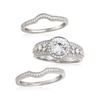 1.90 ct. t.w. CZ Jewelry Set: Three Rings in Sterling Silver, , default