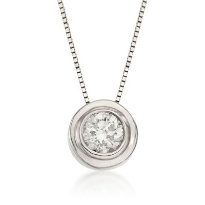.50 Carat Bezel-Set Diamond Solitaire Necklace in 14kt White Gold, , default