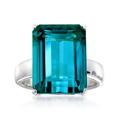 12.00 Carat London Blue Topaz Ring in Sterling Silver, , default