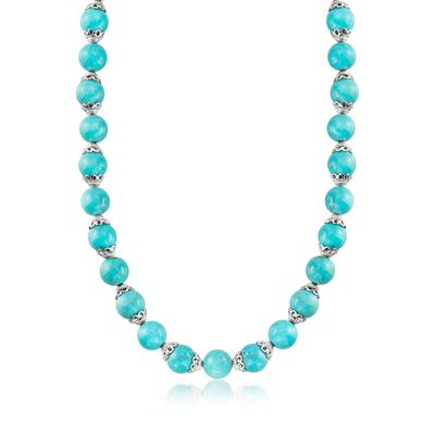 11.5-12mm Simulated Turquoise Bead Necklace in Sterling Silver, , default