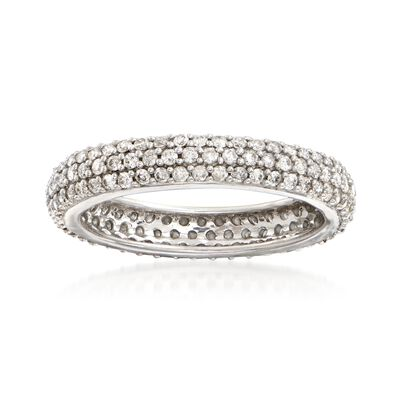 1.00 ct. t.w. Pave Diamond Eternity Band in 14kt White Gold, , default