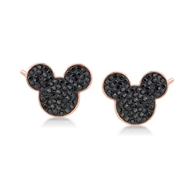 Swarovski Crystal Mickey Mouse Stud Earrings in Rose Gold-Plated Metal, , default
