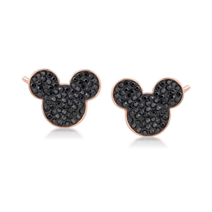 Swarovski Crystal Mickey Mouse Stud Earrings in Rose Gold-Plated Metal, , default
