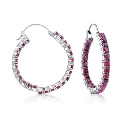 6.50 ct. t.w. Ruby Inside-Outside Hoop Earrings in Sterling Silver