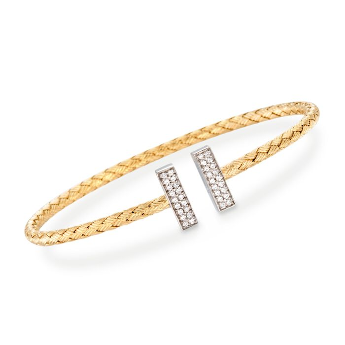 "Charles Garnier ""Bella"" .30 ct. t.w. CZ Cuff Bracelet in Two-Tone Sterling Silver. 7"", , default"