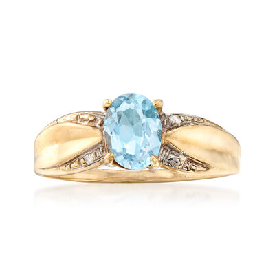C. 1980 Vintage .90 Carat Blue Topaz Ring with Diamond Accents in 10kt Yellow Gold, , default
